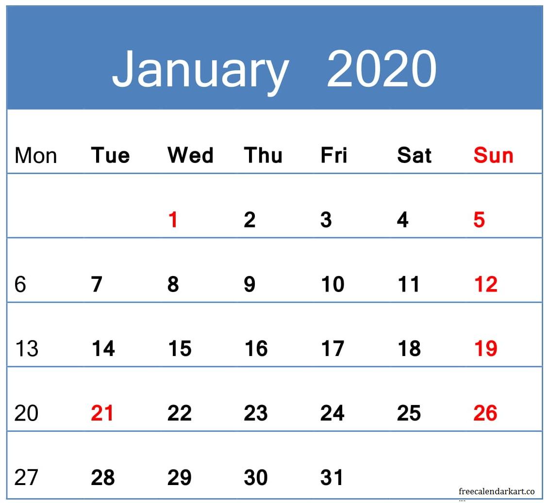 Jan 2020 Calendar
