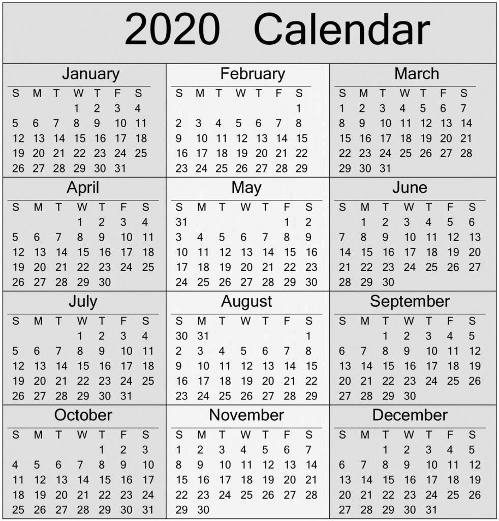Yearly 2020 Calendar