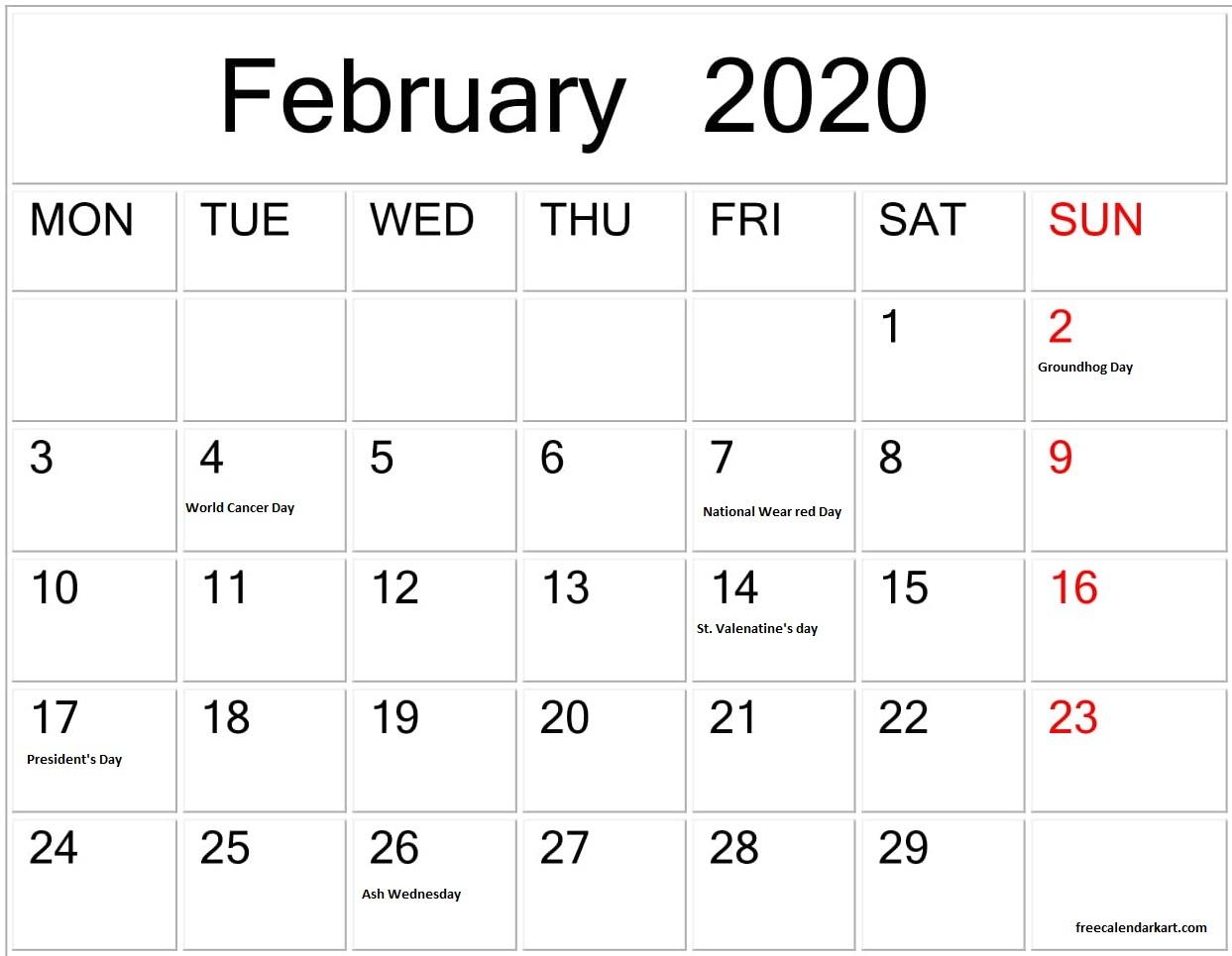 February 2020 Calendar With America Holidays