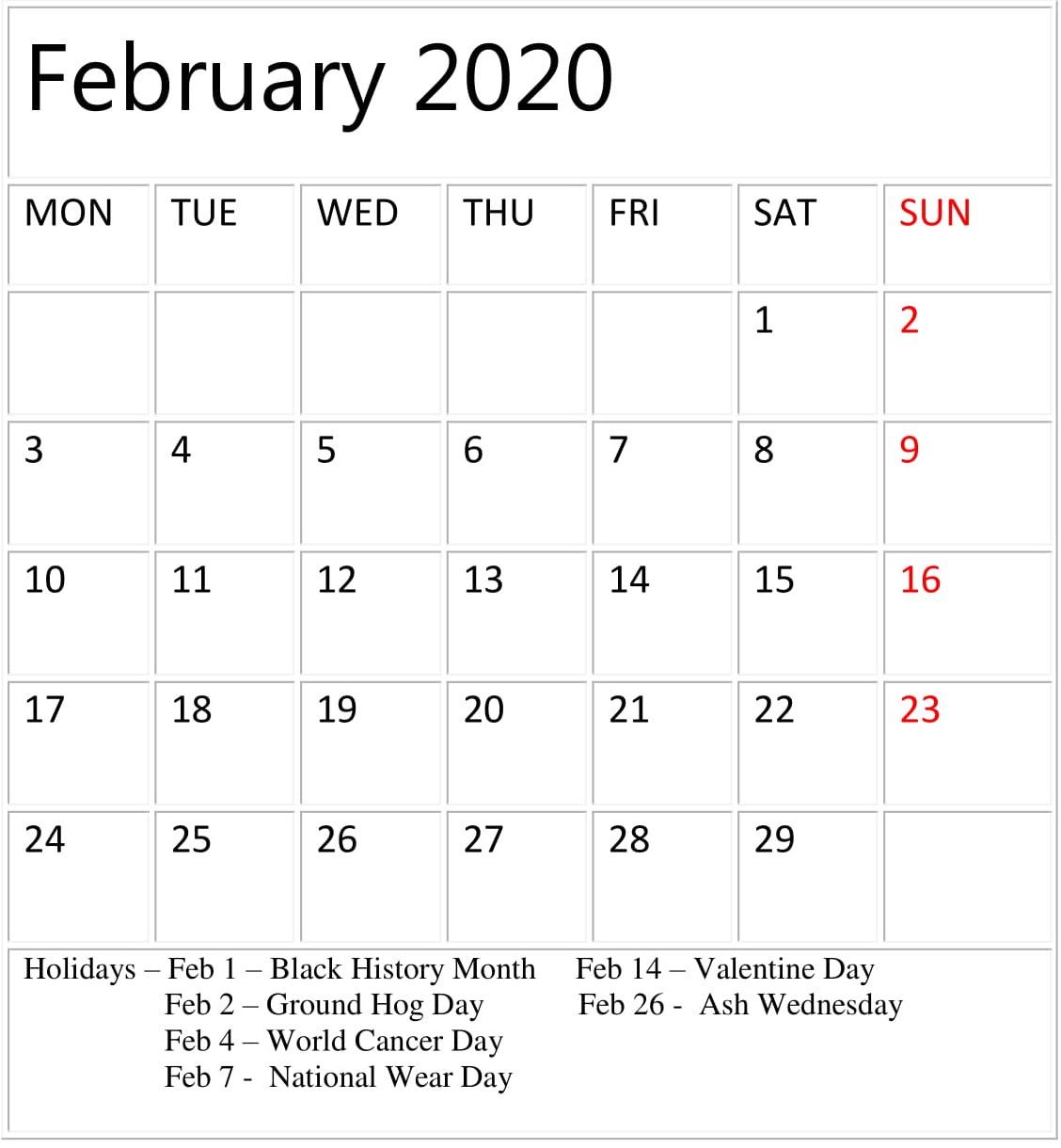 Printable February 2020 Calendar