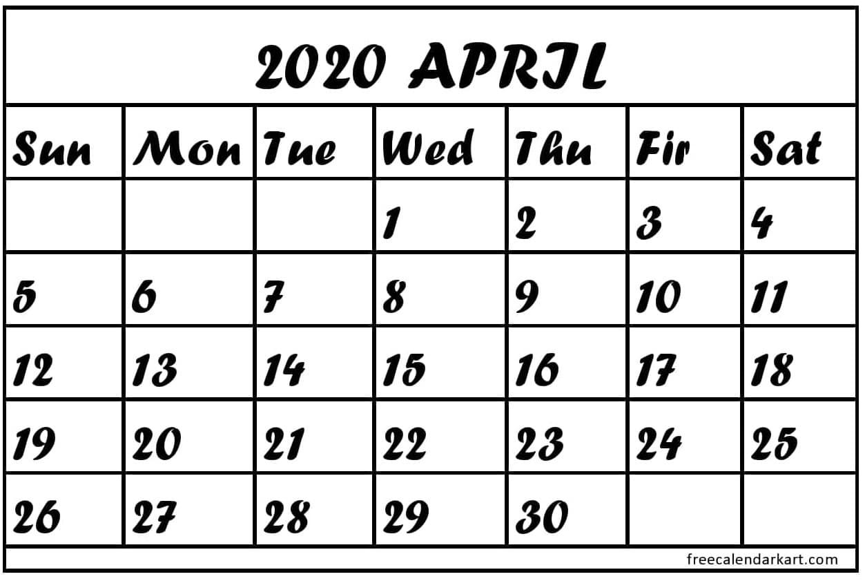 2020 April 2020 Calendar Printable