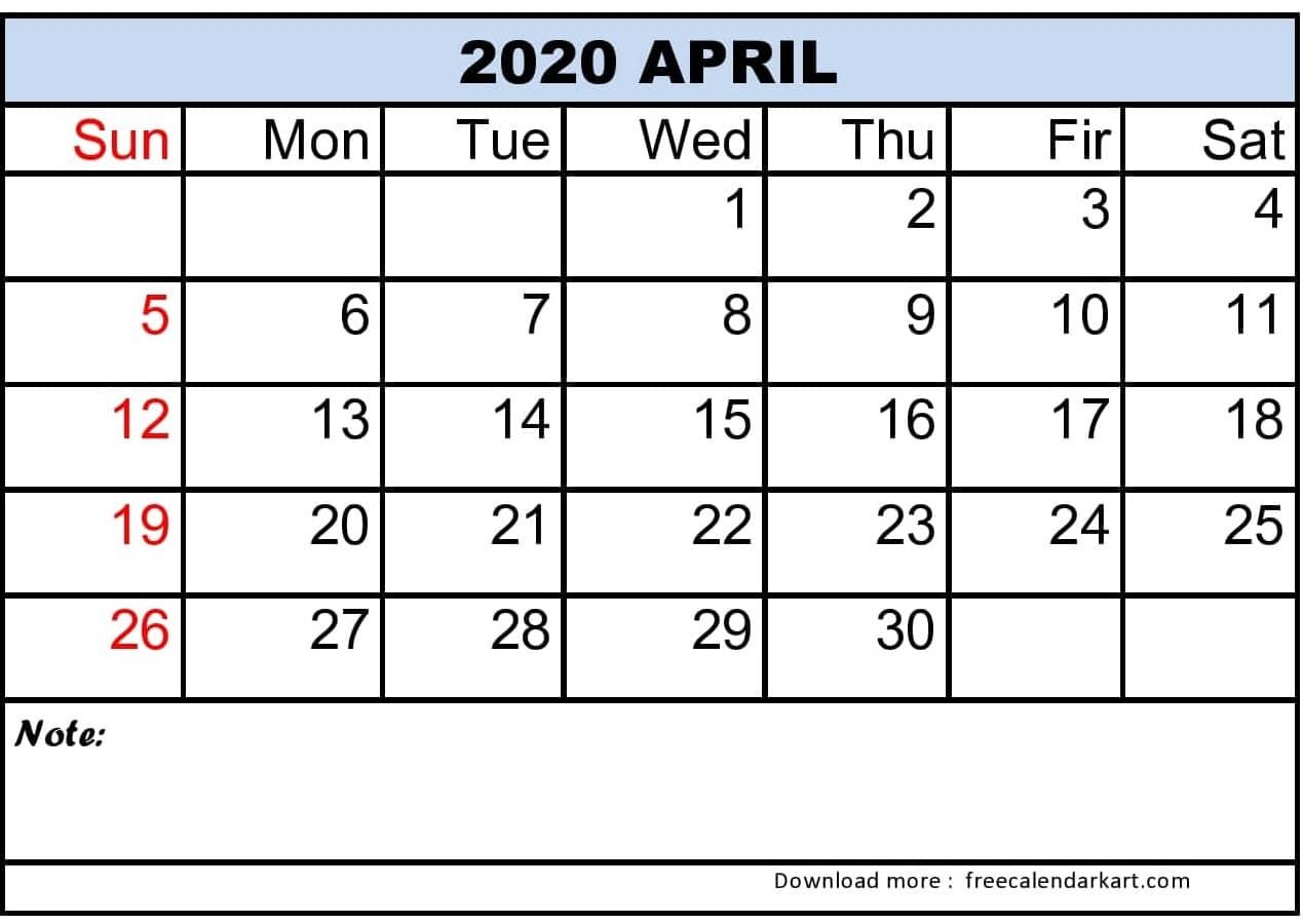 2020 April Calendar Printable