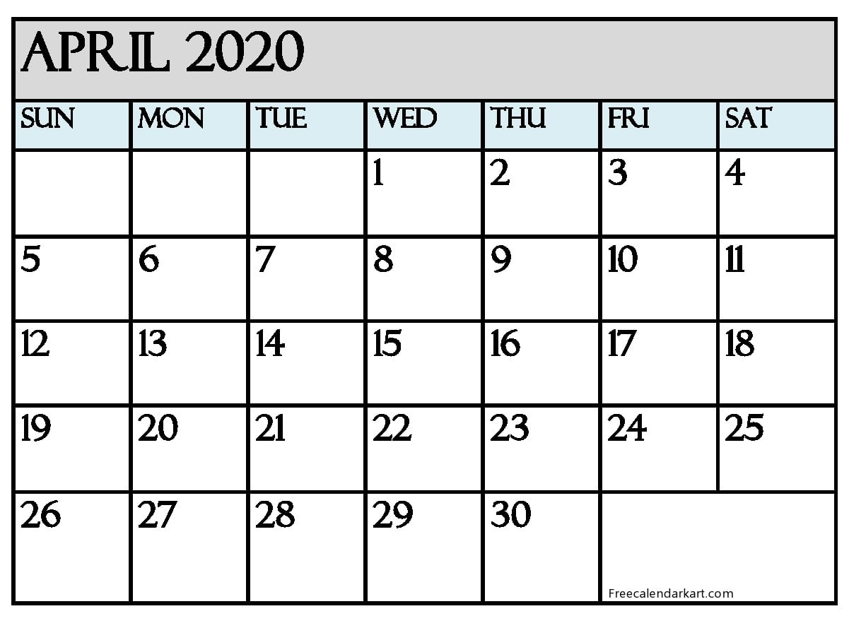 April 2020 Calendar Printabl