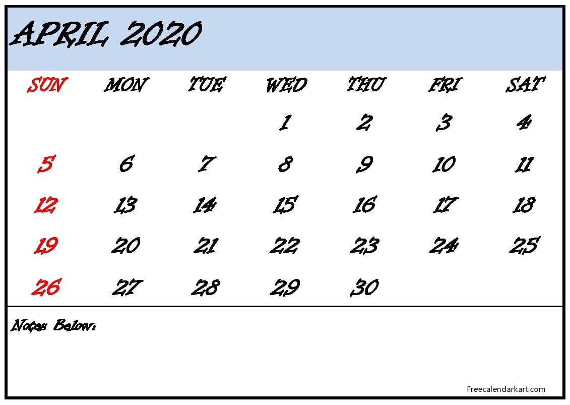April Printable Calendar 2020