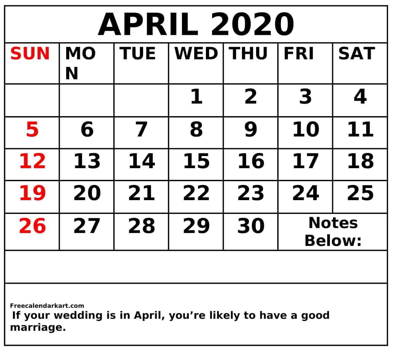 Blank April 2020 Calendar Pdf