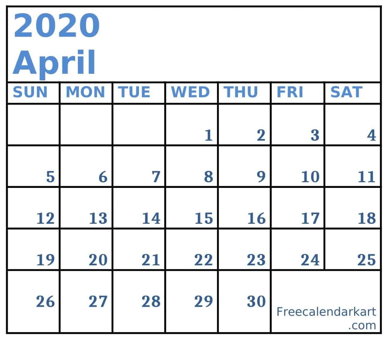 Blank April 2020 Calendar Template Free