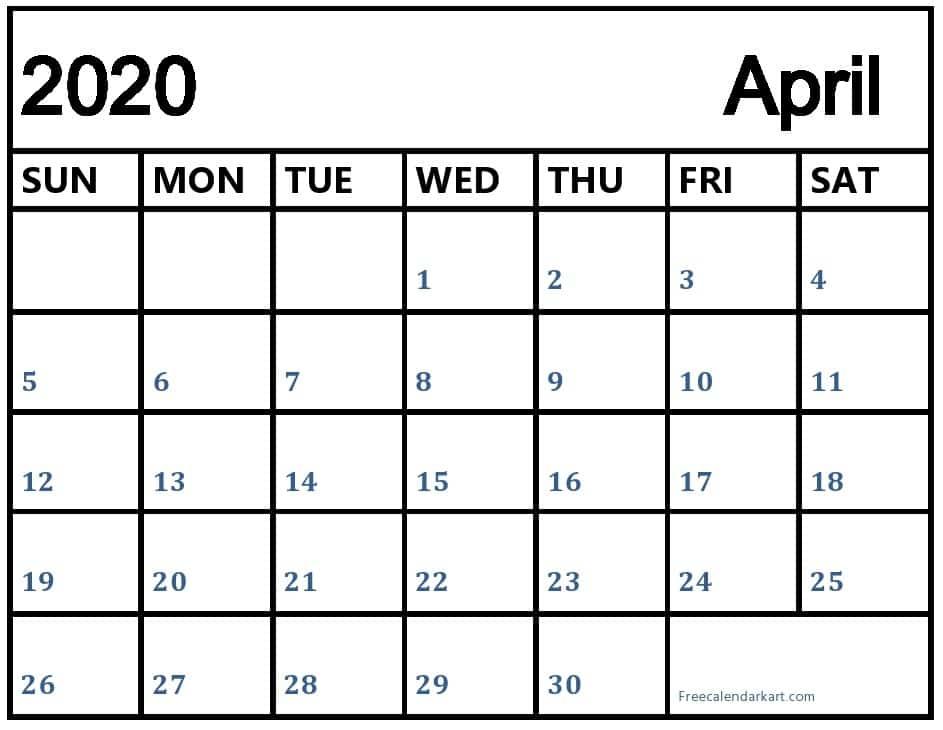 Free Printable April Calendar 2020