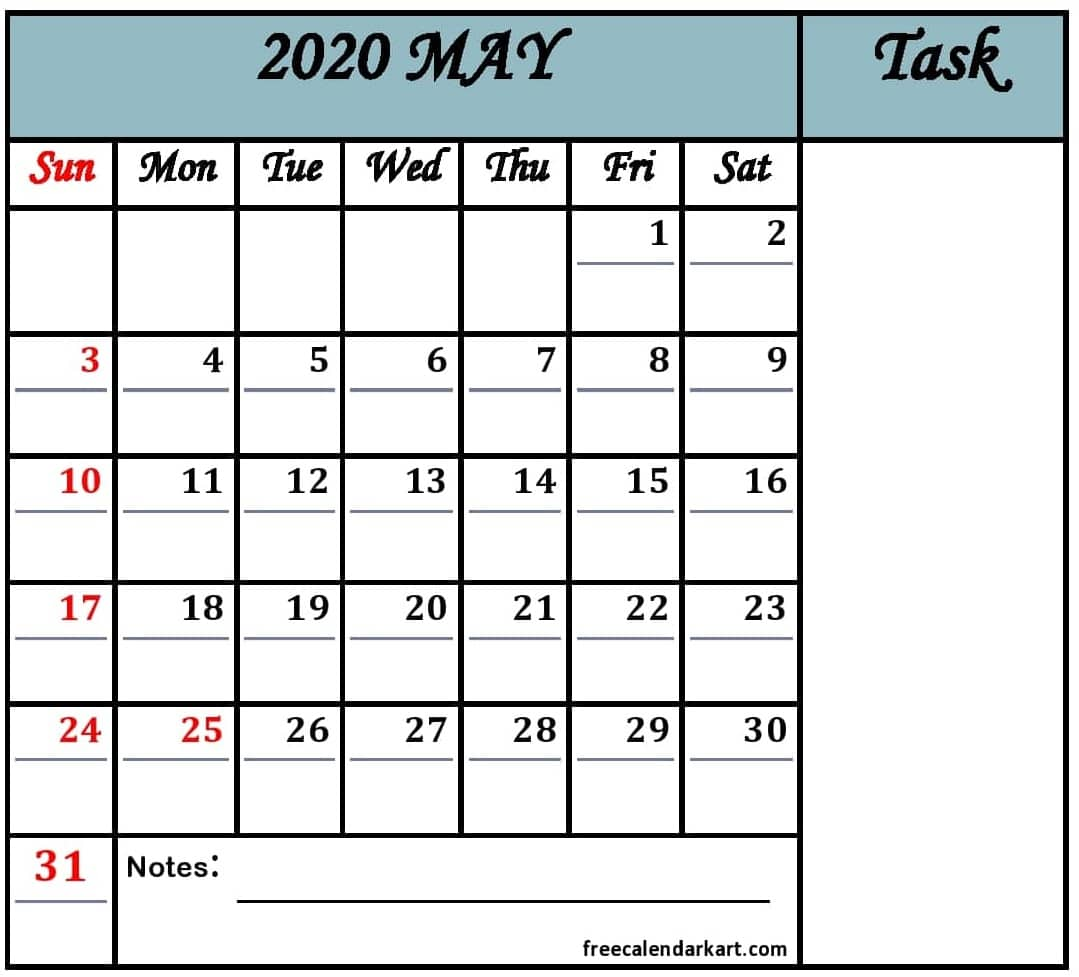 May 2020 Printable Calendar With Holidays Download