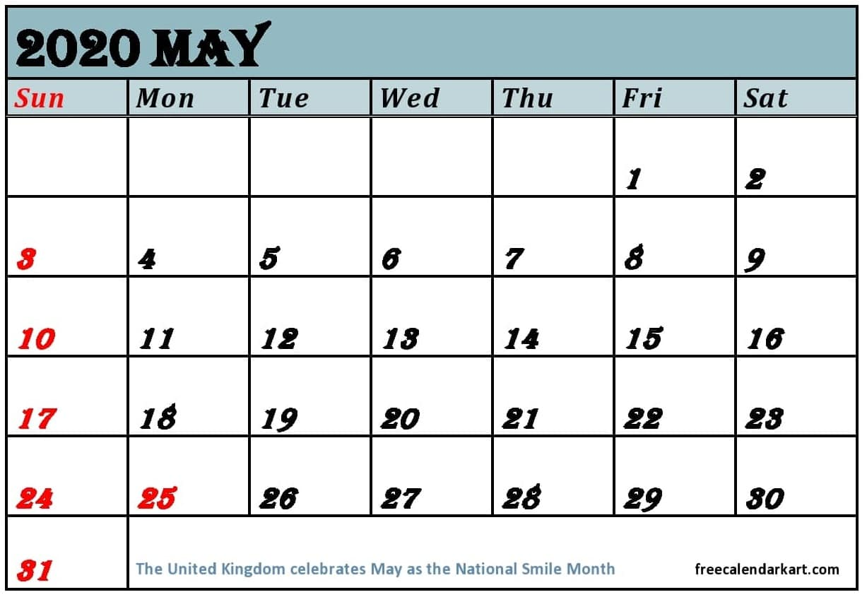 May 2020 Printable Calendar With Holidays In Excel