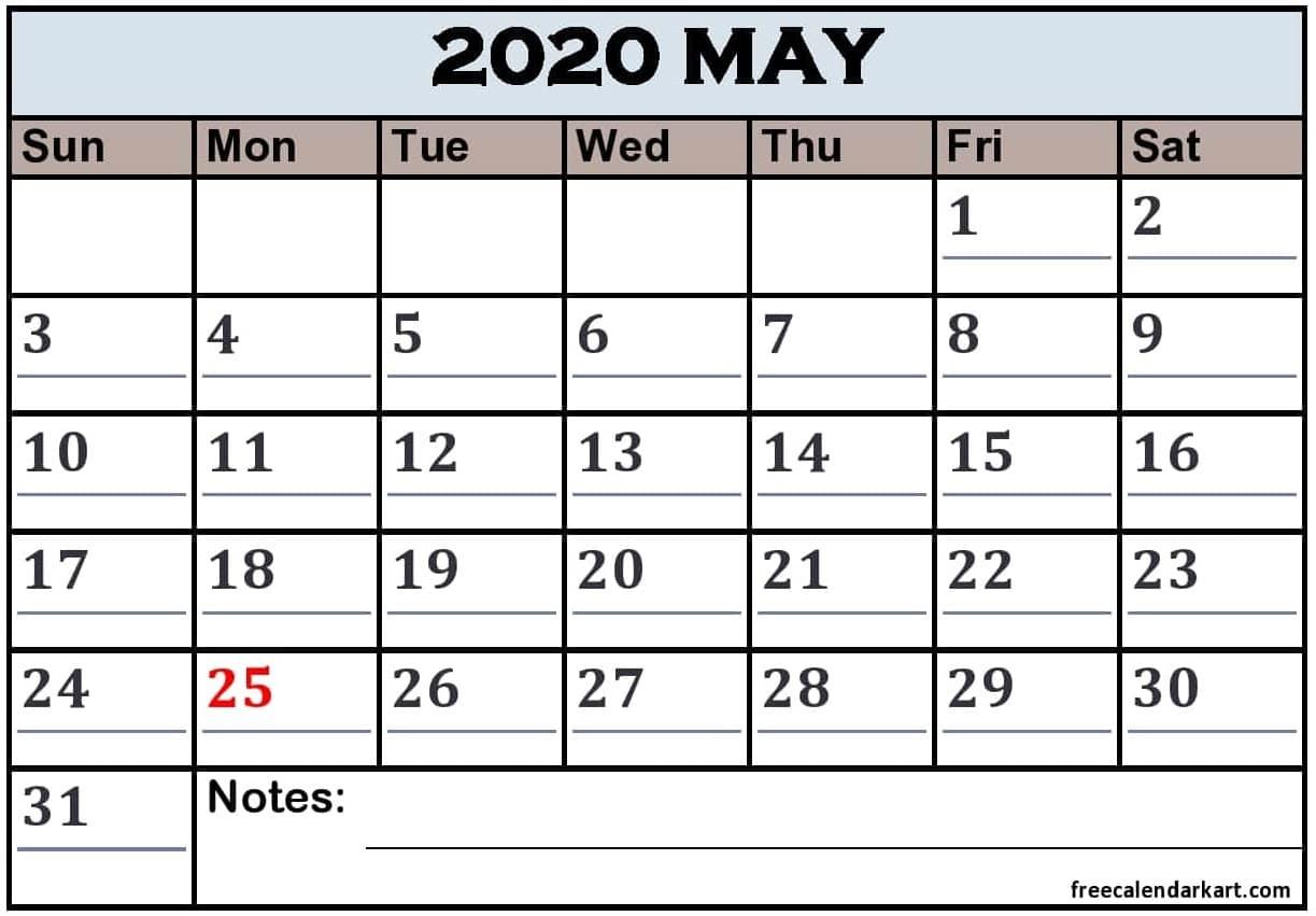 May 2020 Printable Calendar With Holidays Pdf