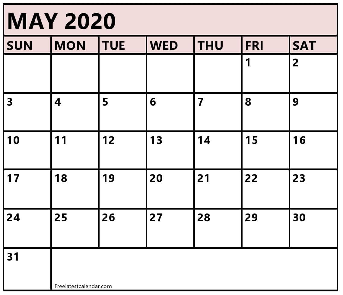 Blank  2020 May Calendar