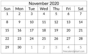 Blank November 2020 Calendar