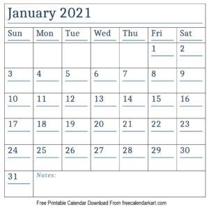 January Calendar 2021 With Holidays