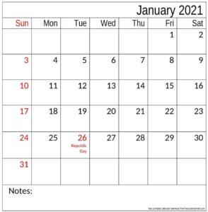 Calendar 2021 January With Holidays