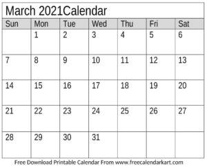 2021 March Calendar