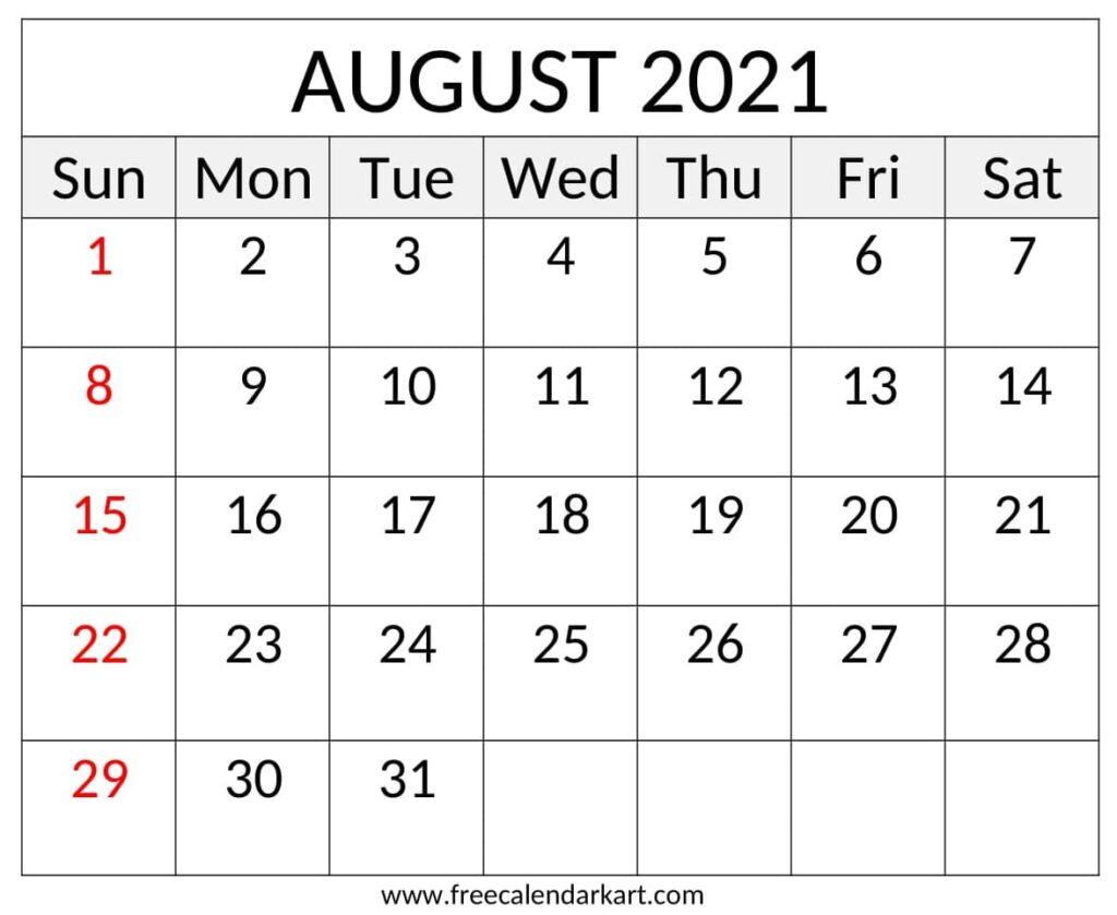 August 2021 Calendar