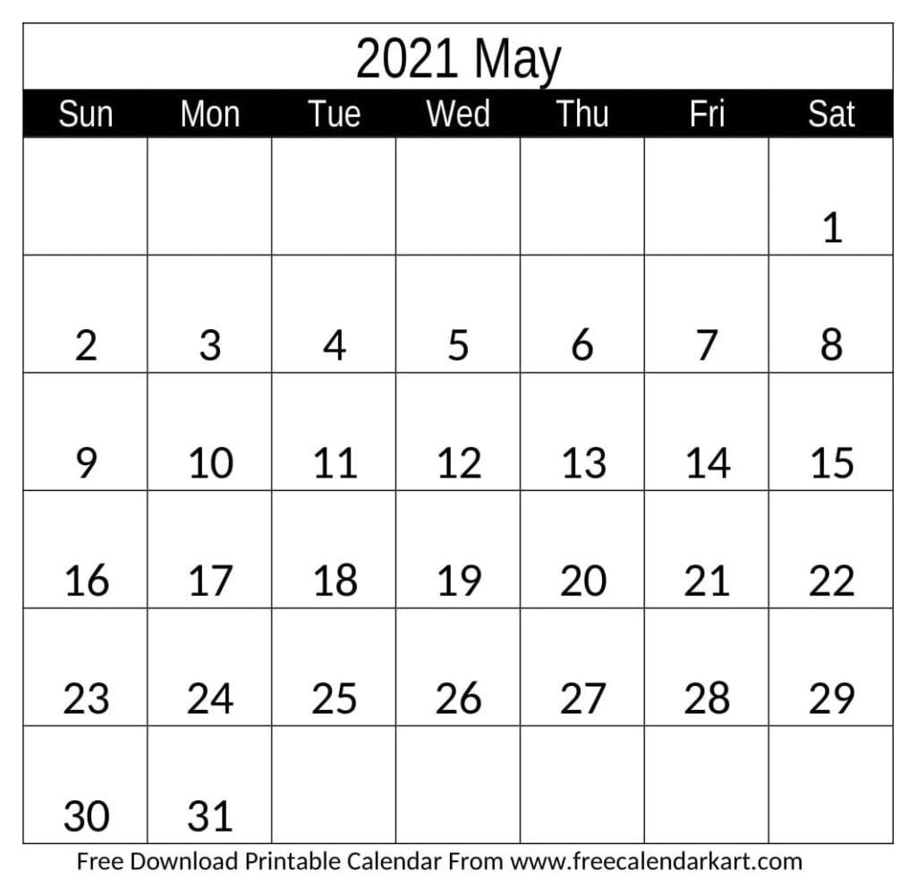 2021 May Calendar