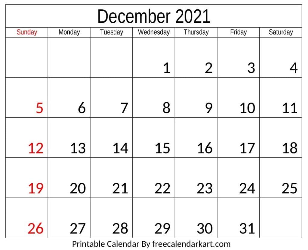 Calendar 2021 December