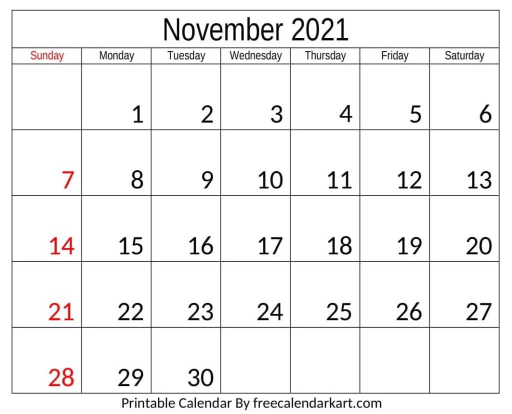 November 2021 Calendar Printable